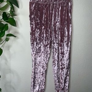 Two pairs of velvet joggers